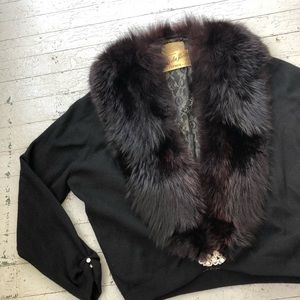 1950's Cashmere & Fox Fur Cardigan